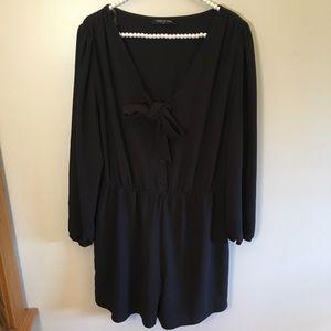 Fashion to Figure long sleeve black tie romper 1x